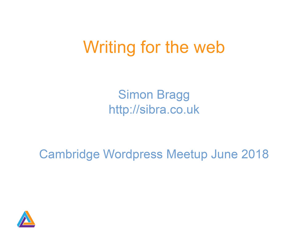 Writing for the Web presentation by Simon Bragg